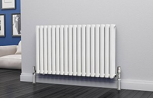 Eastgate Eclipse White Double Panel Horizontal Designer Radiator 600mm High x 1044mm Wide