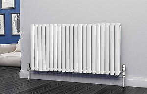 Eastgate Eclipse White Double Panel Horizontal Designer Radiator 600mm High x 1218mm Wide