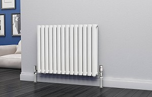 Eastgate Eclipse White Double Panel Horizontal Designer Radiator 600mm High x 812mm Wide