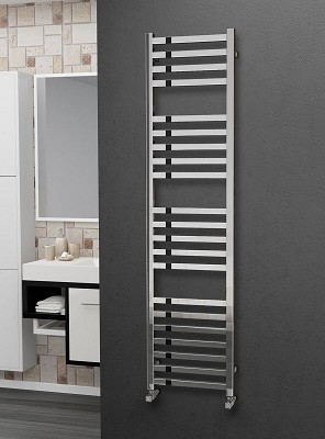 Eastgate Square Tube Stainless Steel Heated Towel Rail 1600mm High x 400mm Wide
