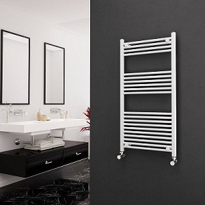 Eastgate White Straight Heated Towel Rail 1200mm High x 600mm Wide