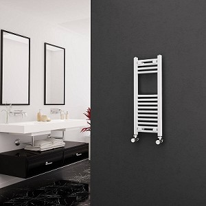 Eastgate White Straight Heated Towel Rail 800mm High x 300mm Wide