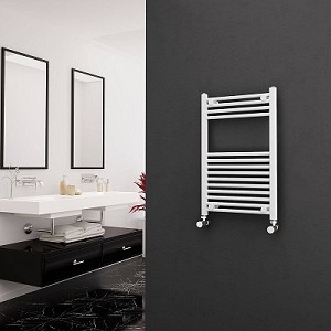Eastgate White Straight Heated Towel Rail 800mm High x 500mm Wide